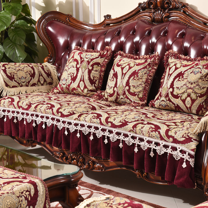 European sofa cushion cover slip proof couch cover American brown combination sofa cover sectional sofa cover