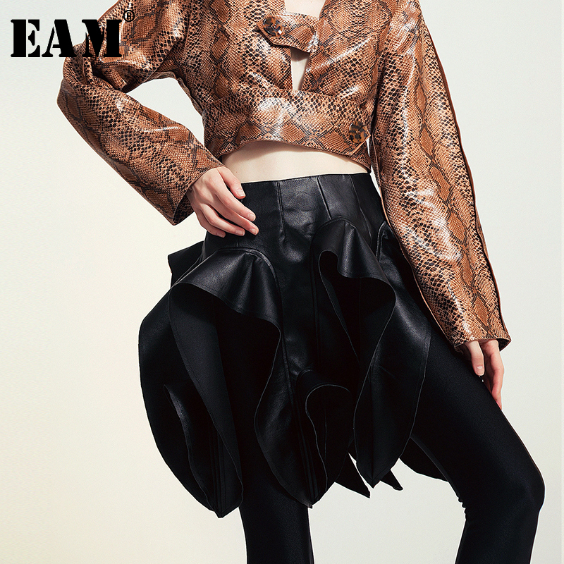 [EAM] High Waist Pu Leather Asymmetrical Hollow Out Pleated Stereoscopic  Half-body Skirt Women Fashion New Spring Autumn 2020