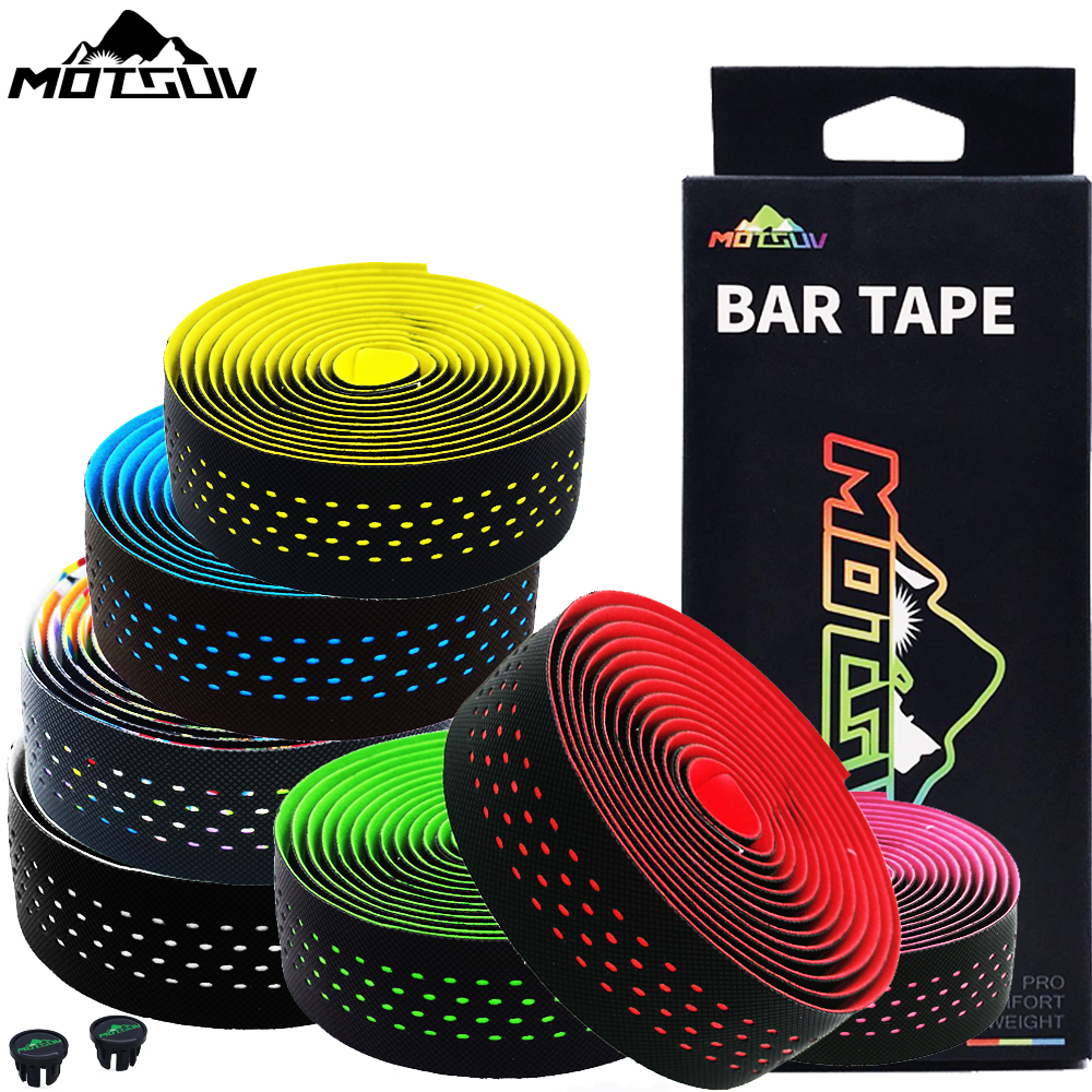 MOTSUV Soft Road Bike Bicycle Handlebar Cork EVA PU Bar Tape Professional Cycling Damping Anti-Vibration Wrap With 2 Bar Plug
