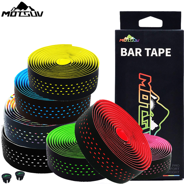 MOTSUV Soft Road Bike Bicycle Handlebar Cork EVA PU Bar Tape Professional Cycling Damping Anti Vibration Wrap With 2 Bar Plug