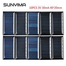 SUNYIMA 10Pcs 3V 30mA Polycrystalline Solar Panels 40*20mm Mini Solar Cells Module Sunpower for DIY Solar Battery Charger Painel