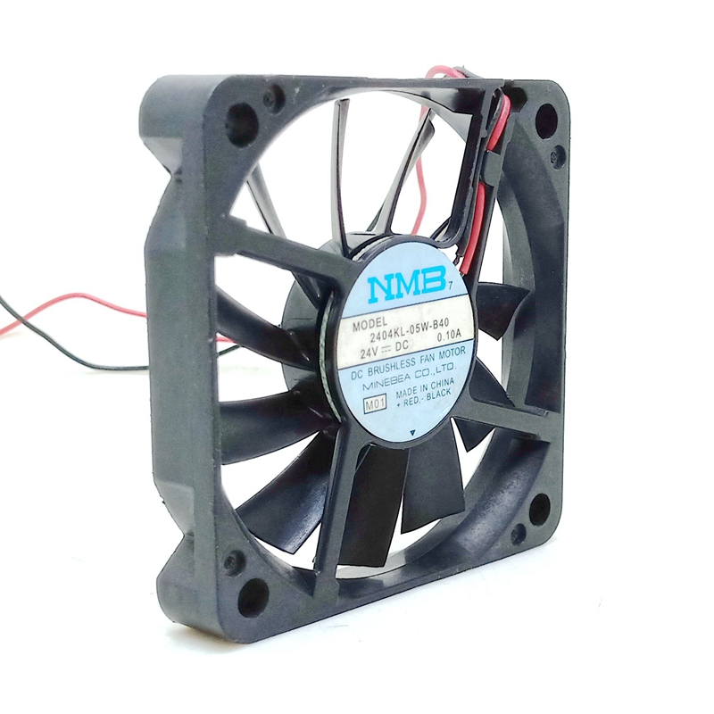 Ultra Slim 60mm Fan 60*60*10mm For NMB  2404KL-05W-B40 DC  24V 0.10A 6CM 2 Wire Dual Ball Bearing Inverter Chassis Cooling Fan