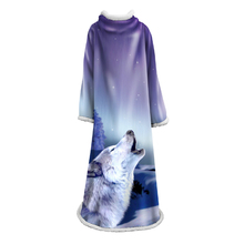 Psychedelic Blanket With Sleeves Wolf 3D Printed Plush For Adult Childs Sherpa Fleece Sofa Home Microfiber Warm