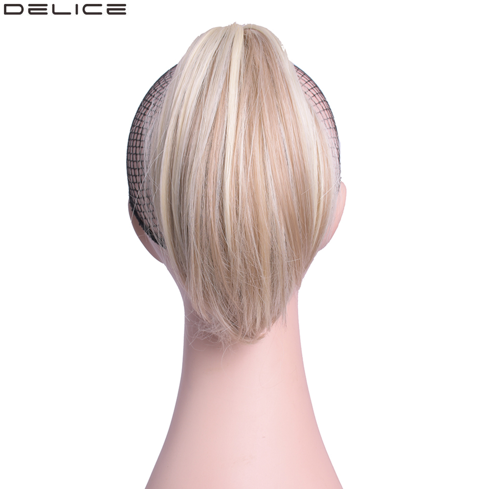Delice Girls Short Straight Ponytail Clip In Ombre Claw Little Ponytails Heat Resistance Synthetic Hair Extensions