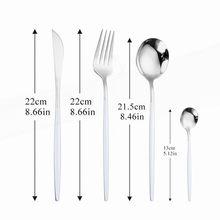 4 pièces acier inoxydable ensemble de couverts 18/10 cuisine vaisselle cuillère fourchette couteau vaisselle ensemble blanc argent maison dîner ensemble complet
