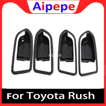 For Toyota Rush 2018 2019 2020 Carbon Fiber Interior Door Handle Cover Trims Protection Sticker Accessories Car Styling image