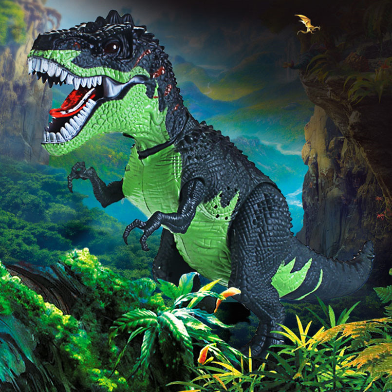 Electric Dinosaur Tyrannosaurus Rex Walking Light Sounds Animal Model Toys For Boys Electricial Lay Egg Dinosaur Outdoor Toy