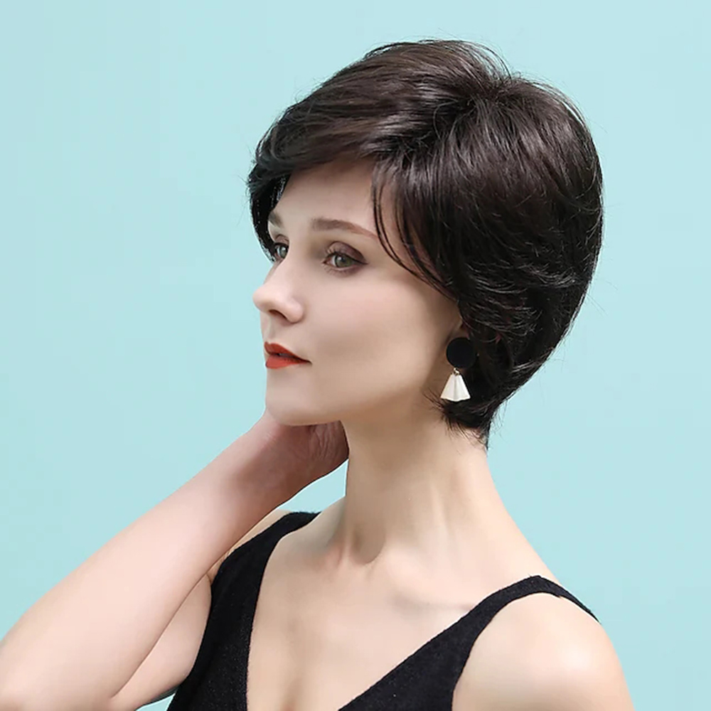 Remy Human Hair Wig short Layered Haircut costume wig Neat Bang With Bangs Chestnut Brown Women Natural costume wigs Pixie Cut