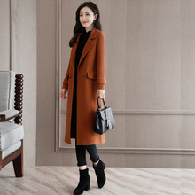 New Women's Wool Blends Autumn Winter 2019 Fashion All-match Solid color Thicken  Long Coat Woolen Slim Jacket Outerwear Female new women wool blends long coat autumn winter 2019 fashion sashes woolen jacket slim outerwear female