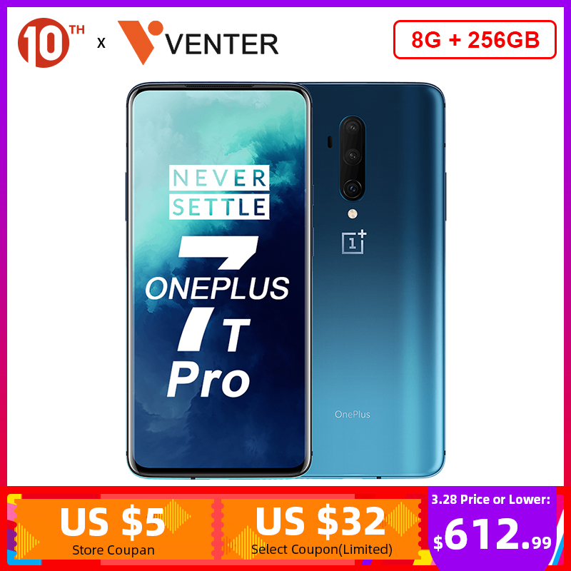 In Stock OnePlus 7T Pro Global ROM Snapdragon 855 Plus 8GB 256GB 6.67'' Fluid AMOLED 90Hz Screen 48MP Triple Cam 4085mA