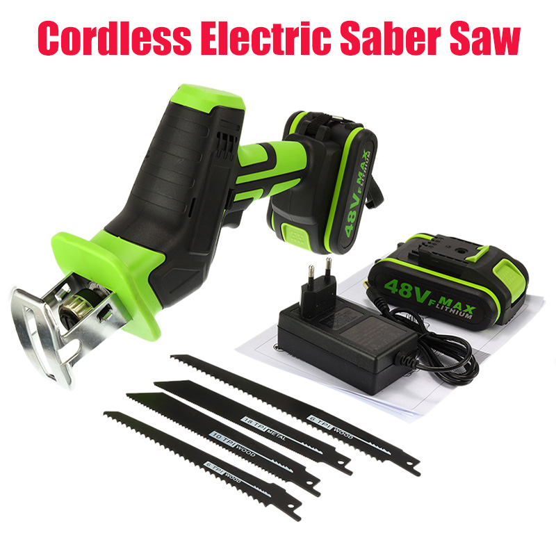 48V Portable Cordless Reciprocating Saw +4 Saw Blades Li-Ion Battery Electric Saber Saw Blade For Wood Chain Cutting Tool Kit