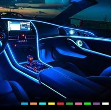 Luzes interiores do carro el fio ambiente led flex rgb tira auto flexível atmosfera neno tubo macio usb lâmpada de iluminação corda fita luz