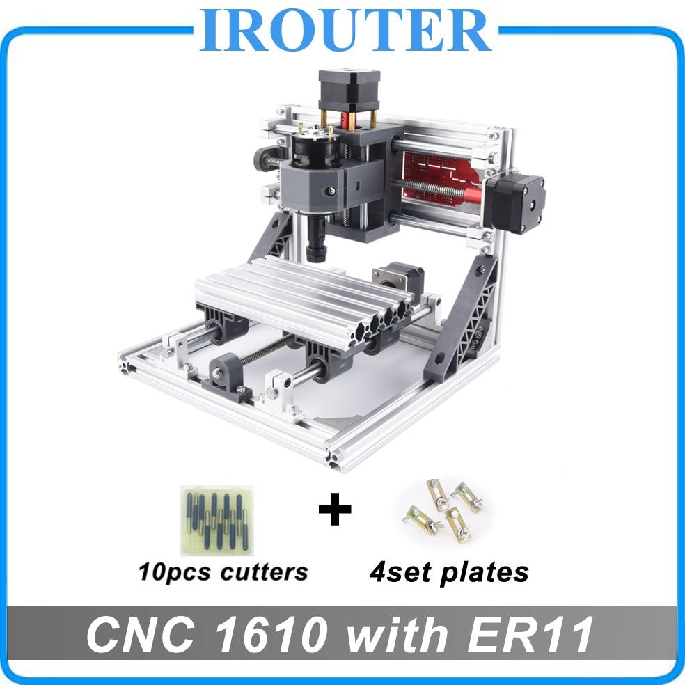 Cnc 1610 com er11, mini diy cnc máquina de gravura a laser, fresadora pcb, escultura em madeira roteador, cnc1610, melhores brinquedos avançados