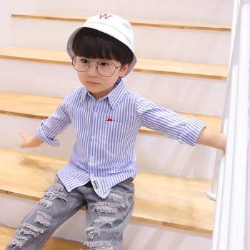 Bluzki dla chłopców pasiasta dziecięca koszula dla ubranka dla niemowląt i małych chłopców koszula dziecięca dla chłopca tęczowe ubrania dla chłopców tanie i dobre opinie NoEnName_Null Na co dzień COTTON Poliester Pełna Pasuje prawda na wymiar weź swój normalny rozmiar Suknem Chłopcy
