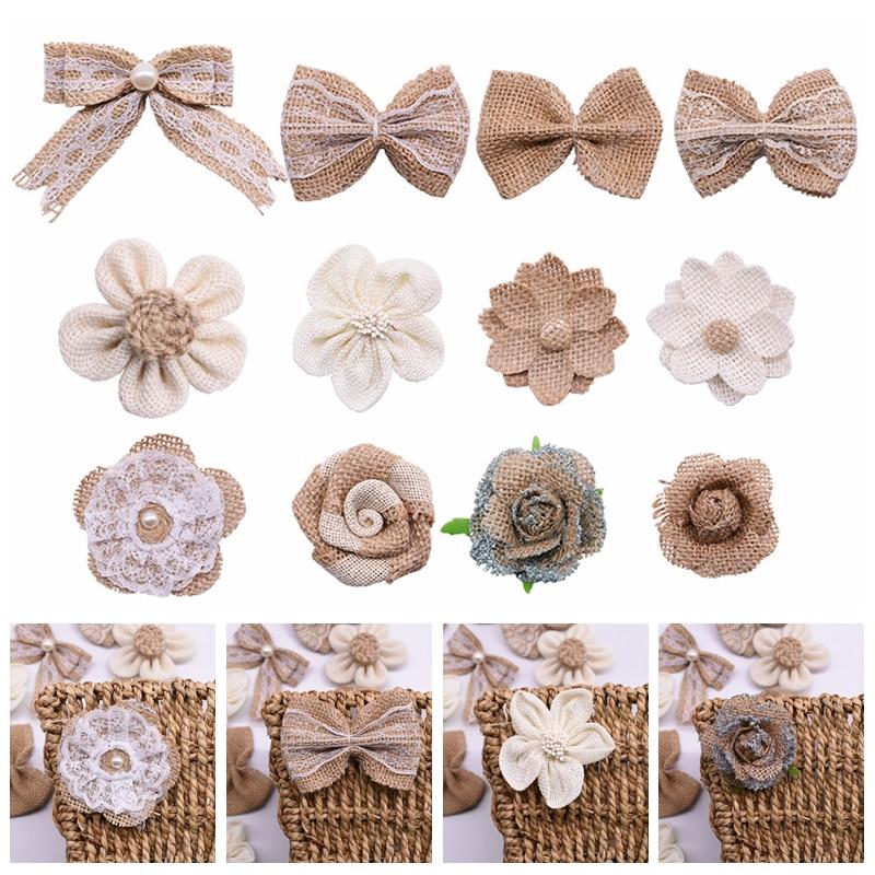 5pcs/lot Vintage Hessian Jute Ribbon Burlap Bowknot Flower For Wedding Christmas Party DIY Craft Decoration Jute Flower Supplies