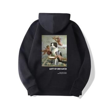 Funny Angels Cat Print Hoodies Sweatshirts Harajuku Hip Hop Casual Pullover Hooded Streetwear 2019 Men Fashion street hoodies 1