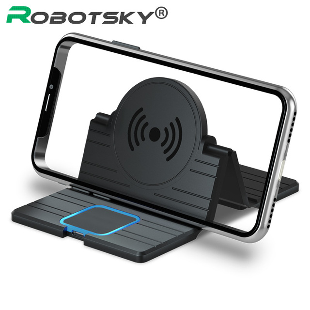 15W Silicone Wireless Car Charger Pad Foldable Fast Charging Base Station Non Slip Phone Stand Holder for iPhone X XS 11 Huawei
