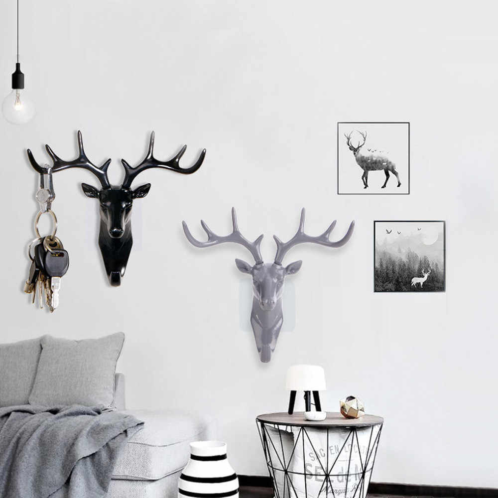 Rusa Tanduk Dinding Menggantung Hook Perekat DIY Gantungan Elk Kepala Tas Desain Tombol Lengket Pemegang Organizer