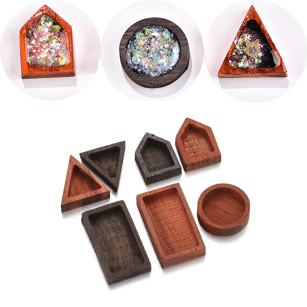 1PCS Epoxy Resin Geometry Solid Wood Rosewood Material Frame Craft Placing Photo Pendant For DIY Handmade Jewelry Making Finding