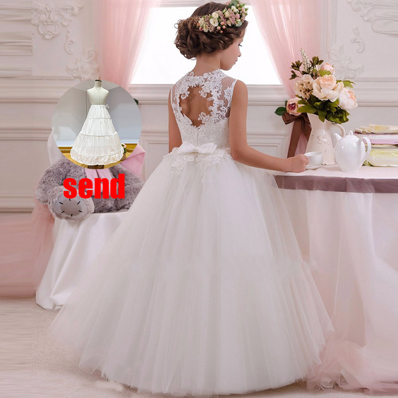 2019 flower girls dress for weddings party vestidos de primera comunion first communion pageant ball gown for children white in Flower Girl Dresses from Weddings Events