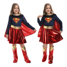 2021 Halloween New Costume Child Cute Girls Costume Supergirl With Cape Cosplay Purim Costume For Kids Party Dress Up