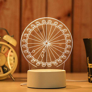 Image 4 - 3D USB Acrylic Night Lights Desktop Baubles LED Light Lamps Table Desk Globe Bedroom Office Decor Gift Warm White Lamp Ornament