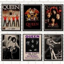 La Banda de Música de papel Kraft cartel Freddie Mercury Brian puede Vintage dibujo de alta calidad core pintura decorativa de la pared de la etiqueta engomada