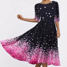 Primavera outono vendas quentes poliéster manga média vestido feminino gola redonda impressão pullovers vestido de viagem