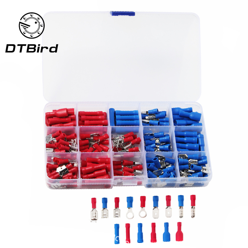 200PCS Eletrical Cable Terminal Connecting Tool Assorted Electrical Fork Ring Spade Crimp Terminal Wire Connector Box Kit