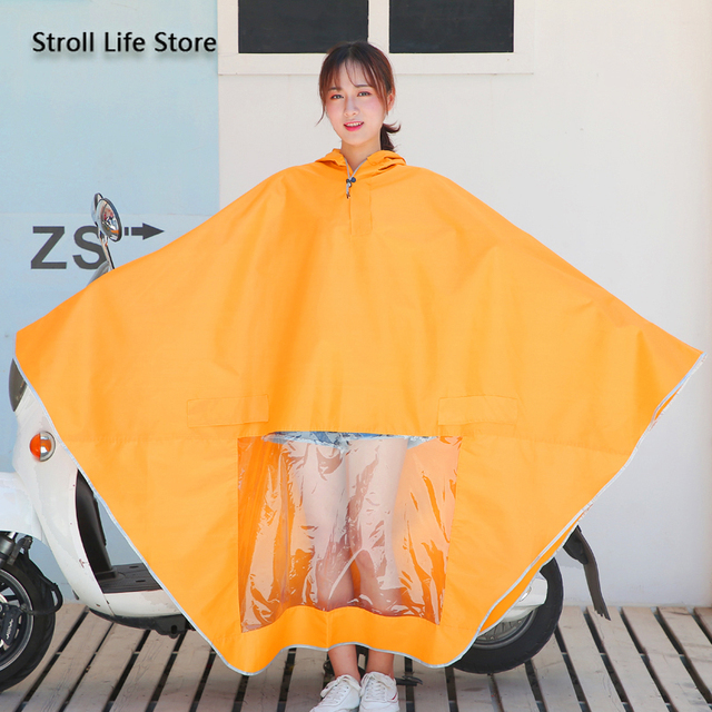 Electric Motorcycle Cute Yellow Rain Coat Women Girls Cartoon Long Raincoat Riding Bicycle Poncho Rain Jacket Cover Impermeable 3