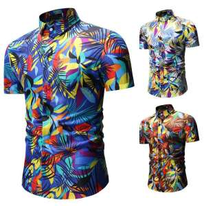 Flower-Shirt Short-Sleeve Mens Summer Man Broken Lapel New-Products Leisure-Time