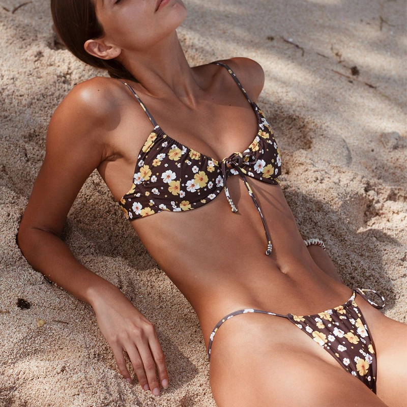 Floral Print Underwired Bikini 2019 Women Thong Swimwear Female Bandeau String Swimsuit Striped Bikini Set Push Up Bathing Suit