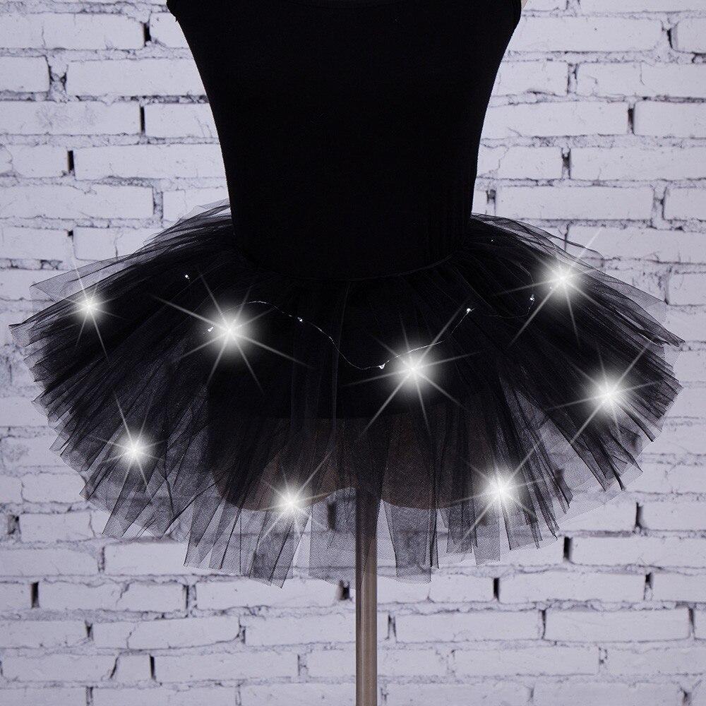 2019 Summer Fashion Skirt Women 5 Layers Mesh Tulle Skirt Princess Skirt With LED Small Bulb Skirt Free Shipping  8.24