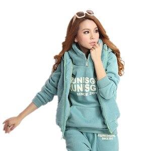 Image 1 - Plus Size M 6XL Casual Brief Hooded Fleece Sweatshirt Drie Stukken Set Herfst Winter Vrouwen Pak Warme Fluwelen Vrouwen Trainingspakken