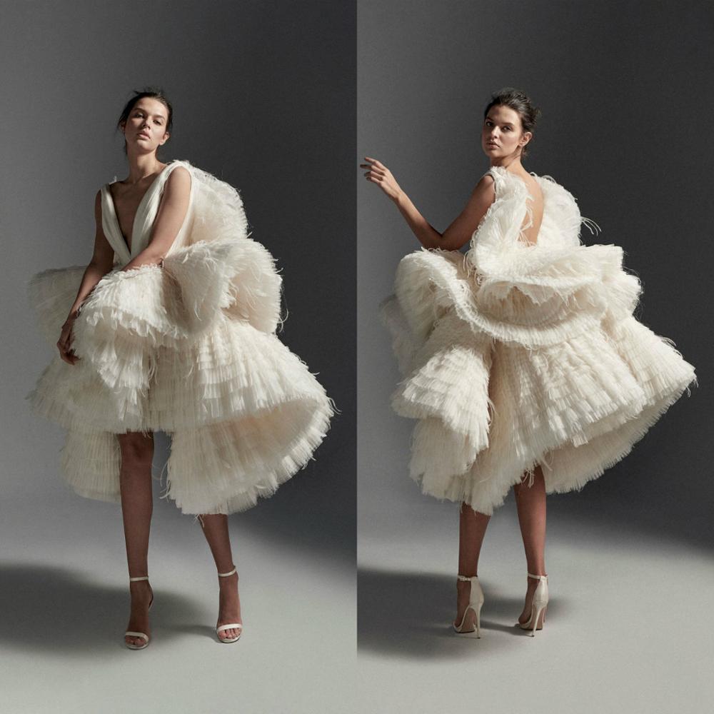 Luxury Wedding Dresses Short Deep V Neck Tulle Ruffles Tiered Skirts High Low Wedding Dress Custom Feather Abiti Da Sposa