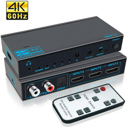 ANPWOO HDMI-compatible Switcher 3 In 1 Out 2.0 Audio Splitter 4k60hz All Audio Ports Support ARC Automatic Three Switching Modes
