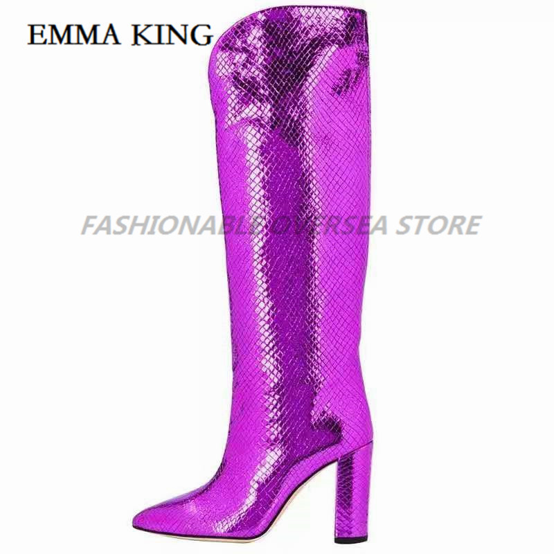 Sexy Crocodile Skin Leather Over the Knee Boots Pointed Toe Chunky Heels Thigh High Boots Sexy Purple Long Boot for Woman 2020 - 2