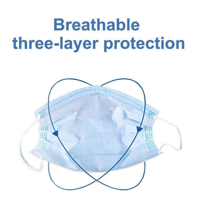 Face Mask Protective Masks Anti Virus Mouth Filter& Disposable Use &Soft Breathable  Flu Hygiene Masks 3-Layer Non-woven 3