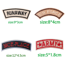1PCS Colour English Alphabet Rectangle Embroidery Patches for Clothing Stripes Written Words Sticker Clothes Letters Badges