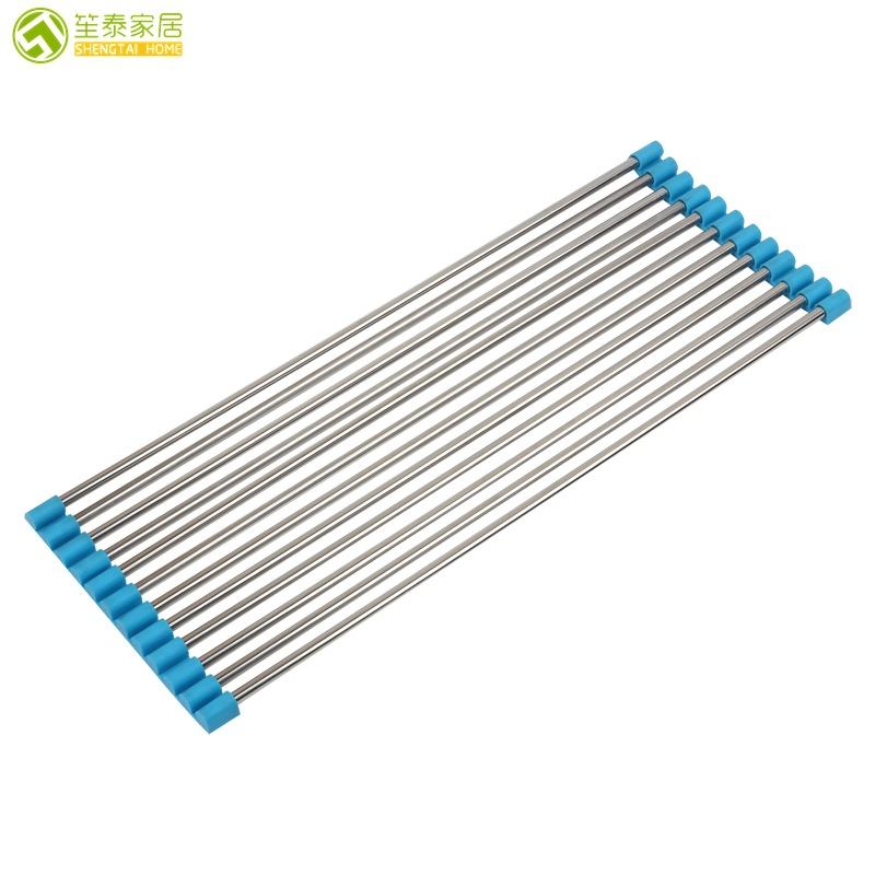 12 Root Folding Draining Shelf Kitchen Sink Storage Shelf Roll-up Drip Rack Dishes Stainless lv shui jia Insulation Pad