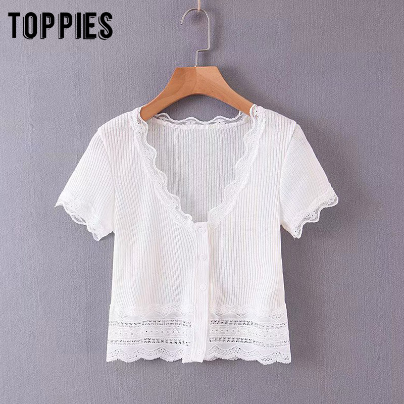 White Lace Tops 2020 Summer Short Sleeve Knitted Tops Women Sexy Deep V-neck Short Shirts Vacation Beach Blouses