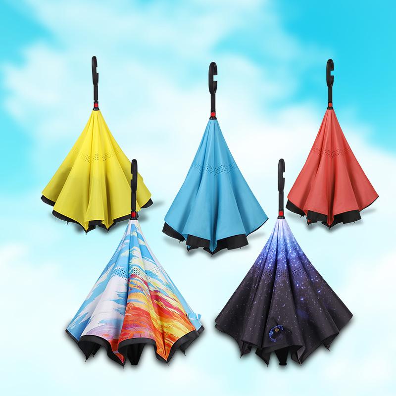 Manufacturers Creative Hands-Free Straight Pole qi che san Double Layer C- Shaped Reverse Umbrella Fiber Rain Or Shine Advertisi