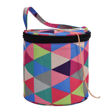Knitting Crochet Tote Bag Small Yarn Storage Case Drum Womens Hook Thread Pouch Round Periwinkle
