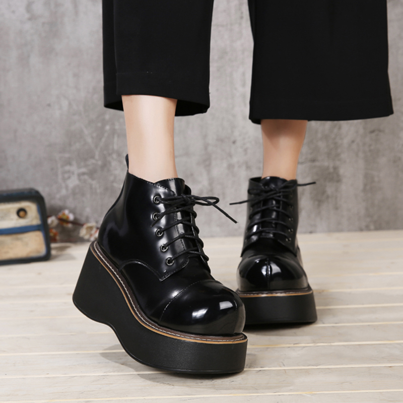 2018 VALLU Women Shoes Wedge Boots Lace Up Round Toes Platform Ankle Boots Genuine Leather Lady Casual Boots