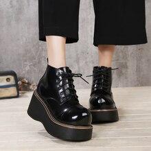2018 VALLU נשים נעלי טריז מגפי תחרה עד עגול הבהונות פלטפורמת קרסול מגפי עור אמיתי גברת מזדמן מגפיים