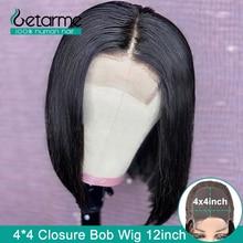 4x4 Spitze Schließung Perücke Peruanische Gerade Bob Perücke Spitze Verschluss Perücke Menschliches Haar Perücken Für Schwarze Frauen 130% niedrigen Verhältnis Nicht Remy Perücke