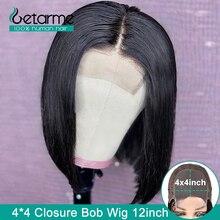 Peluca con cierre de encaje 4x4, peluca recta con corte Bob, cierre de encaje, pelucas de cabello humano para mujeres negras, 130%, baja relación, no Remy