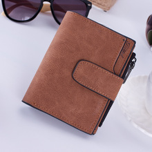 Vintage buckle matte multi-card zip wallets Womens short wallet clutch bag womens PU Zipper & Hasp