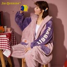 Женские пижамы с передним карманом кораллового флиса буквенным
