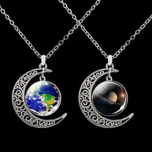 Planet Necklace Solar System Sun Earth Jupiter Mercury Moon Glass Cabochon Crescent Moon Necklace Outer Space Pendant fashion solar system moon earth mars planet necklace antique silver crescent moon pendant chain necklace outer space jewelry